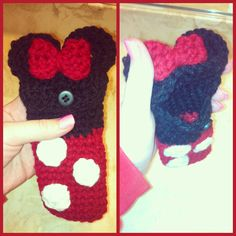 I made a Minnie mouse crochet cell phone cover :)
