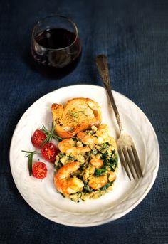 Receta 479: Revuelto de huevos, espinacas y gambas » 1080 Fotos de cocina