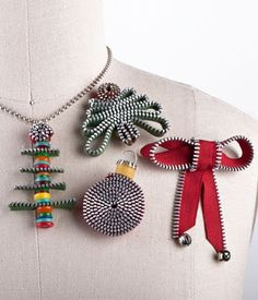 My Christmas Zips (IJ915) - fun pattern for creating jewelry & ornaments from Zippers from IndygoJunction.com