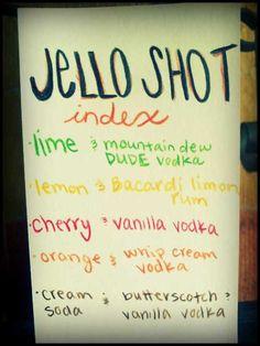 Jello Shots... 21 Jello Shot Recipes for College Students