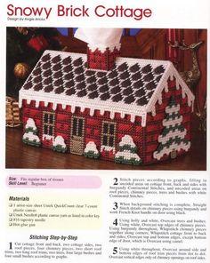 Snowy brick cottage