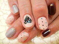 Heart & dots #nails heart nails, polka dots, dot nail, heart dot, nail arts, color dot