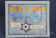 hand crafted Hanukkah card featuring Menorah and Star of David