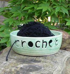 Crochet yarn bowl on Etsy