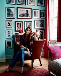 love the bold colors and the photo wall