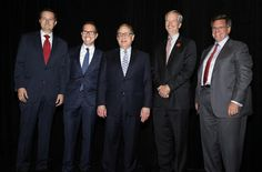 Show left to right: Tom Ricketts (Cubs), Andrew Hauptman (Fire), Jerry Reinsdorf (Bulls and White Sox) George McCaskey (Bears) and Rocky Wirtz (Blackhawks). The Chairmen of all six of Chicago's professional sports teams photographed 10/16/14 in Chicago, of course.