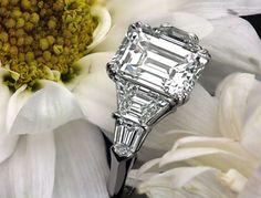 Leon Mege classic five-stone engagement ring with 3-carat emerald-cut diamond