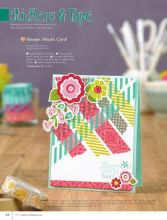 Woven washi tape card. ISSUU - Paper Crafts Handmade Cards Sneak Peek by Paper Crafts magazine