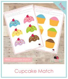 Printable games for kids from busylittlebugs.com cupcak match, activities for kids, cupcakes, free cupcak, printable games for kids, kids printable activities, goodie bags, educ, felt books