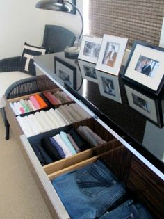 """one of those """"Duh"""" things - so simple, but never thought of it before - use shoe box bottoms in your drawers instead of spending for container store  or others ones that cost you money..."""