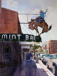 Neon Cowboy    by Kris Parins   Watercolor29 x 21