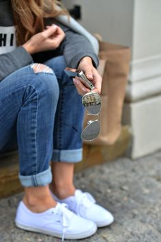 Keds & cuffed pants. on the go.