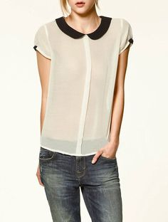 Black Collar Transparent Chiffon Shirt White