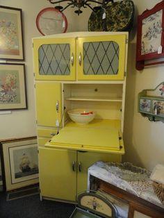Yellow hoosier vintag kitchen, hoosier cabinet, kitchen cabinets