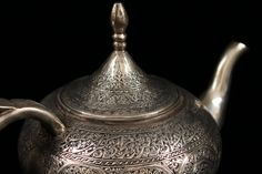 Antique Persian Hand Crafted Silver Tea Pot, Mid 20th