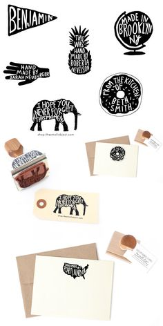 Cute custom rubber stamps in the shape of a pineapple, donut, globe, banner, elephant, and hand: http://ohsobeautifulpaper.com/2014/07/cute-custom-rubber-stamps-the-small-object/   Stamps + Photo: The Small Object