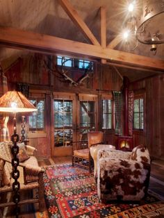 Rustic Cowboy Decor with wood blinds on the doors and windows.  Nice accent with them raised.  Lots of privacy lowered and closed.