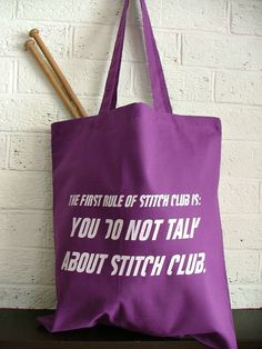 Knitting  Project Bag -Geeky knitting tote - fight club  project bag. $18.10, via Etsy.