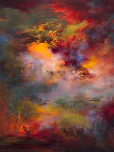 "Intense colour infusion, imagine  elements of this paining reaching your walls, floors or textiles. This glorious paining is by Rikka Ayasaki. ""Passions, twilight""  Imagine this"