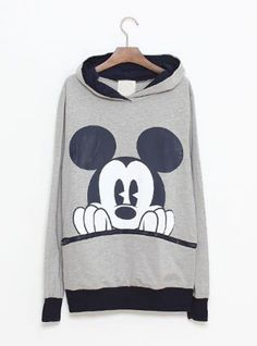 Gray  Mickey Cartoon Casual Sweatshirt$43.00