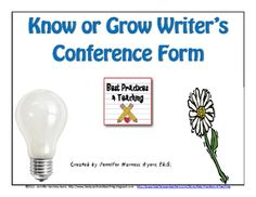 Use this form during conferences with writers in order to document that you are conferencing and to also help students remember what needs to be wo...