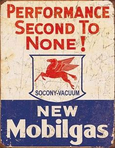 Mobilgas Second To None Vintage Tin Sign