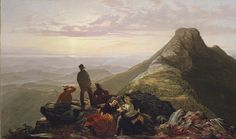 Jerome B. Thompson (1814–1886). The Belated Party on Mansfield Mountain, 1858. The Metropolitan Museum of Art, New York. Rogers Fund, 1969 (69.182)   Atop Mount Mansfield in Vermont's Green Mountains, a group of young men and women are resting after a day of hiking and picnicking and are enjoying the view of the vast Champlain Valley. They are enraptured by the moment, the beauties of nature, and the possibilities of courtship at dusk.