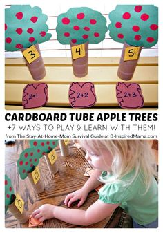 Preschool Learning Games with DIY Apple Trees at B-InspiredMama.com  #kids #preschool #learning #apples