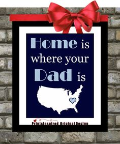 Custom Fathers Day Gift: Home is where my  Dad is Wall Art, Father From Daughter To Dad Daddy Quote Print For Dad Home Decor via Etsy