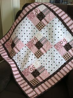 Cozy pink brown and white flannel baby girl quilt by annmoody, $120.00