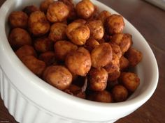 Crunchy Spiced Chickpeas: These crispy baked chickpeas are a terrific protein-rich snack you can take on the go. Experiment with different seasoning combos to make your own signature flavors.