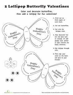 Worksheets: Lollipop Valentine Craft