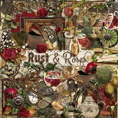 A beautiful vintage style scrapbook kit, Rust & Roses, from Raspberry Road.