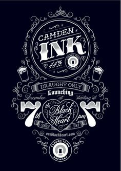 Typography / Poster for Camden Ink launch party by Tenfold Collective
