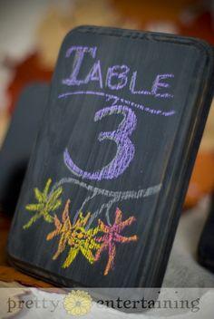 custom chalkboard wedding table numbers