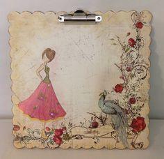 Altered clipboard. Julie Nutting for Prima doll stamp.
