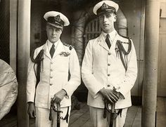 HRH The Prince of Wales (later King Edward VIII and Duke of Windsor) left, and Lord Louis Mountbatten (later 1st Earl Mountbatten of Burma) circa 1922. Edward abdicated in favor of his brother George (1936) and Mountbatten was murdered by the Irish Republican Army (1979).