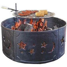 Landmann Stars And Moons Black Cast Iron Fire Ring : Fire Pit Guys