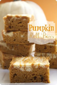 Pumpkin Roll Bars :  These taste exactly like a pumpkin roll but without all of the hard work!  Easy and declicious!!