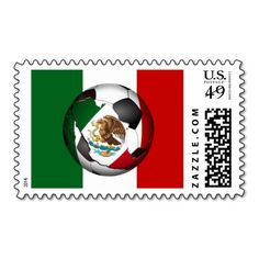Mexico Soccer Ball w/Flag Colors Background Postage Stamp #mexico, #gravityx9, #zazzle,  #fiesta #ole #soccer #soccerball
