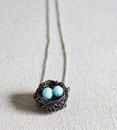 Bird's Nest Silver Necklace--LOVELY!!!