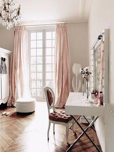 pink silk drapes + pretty vanity desk