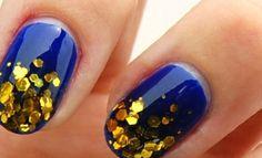 trendy nails, nail trend, gold nails, color, cobalt blue, sparkle nails, glitter nails, nail arts, blue nails