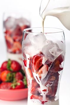 Strawberry cocktail with milk and ice by Natalia Lisovskaya
