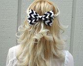 Black and white chevron hair bow