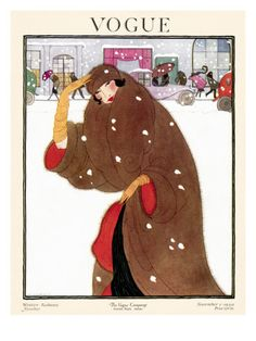 Vogue Cover - November 1920    Shielded by her luxurious brown fur coat and matching turban, a woman on the move braves the cold winter wind. This snowy street scene, illustrated by Helen Dryden, appeared on the November 1, 1920, cover of Vogue. magazine covers, 1920, november, winter, vintage vogue covers, vogue magazine, vogu cover, art deco, fashion illustrations