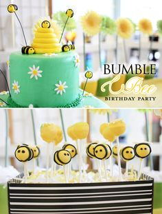 bumbl bee, smash cakes, birthday parties, cake pops, bumble bees, bee shower, bumble bee party, bee birthday, baby showers