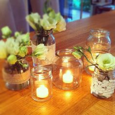 Mason Jars + Lace for centerpieces
