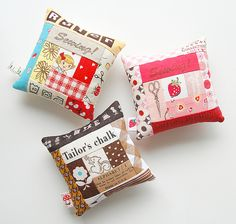 Pincushions by ayumills, another of my favorite craft blogs.  Love these patchwork pincushions!