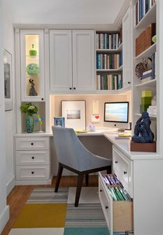Great office design - we love the lighted shelving!